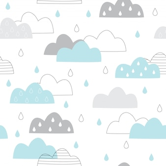 Seamless pattern with blue and gray clouds.