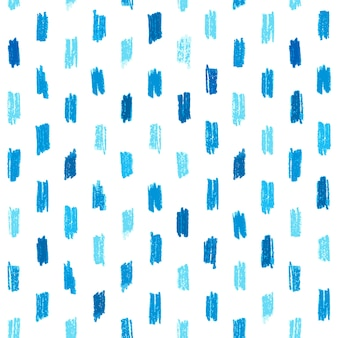 Seamless pattern with blue hand drawn crayon strokes.