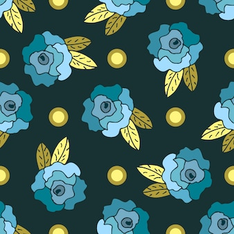 Seamless pattern with blue hand drawn roses and dots