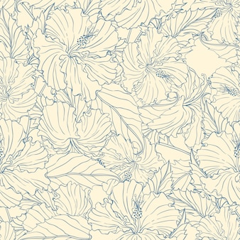 Seamless pattern with blue hibiscus on a beige background