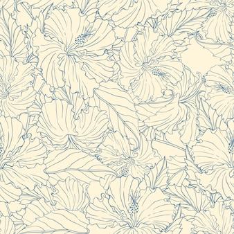베이지 색 배경에 파란색 히비스커스와 원활한 패턴