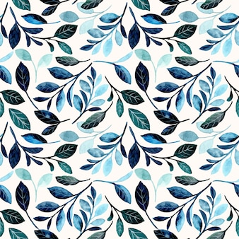 Seamless pattern with blue leaves watercolor