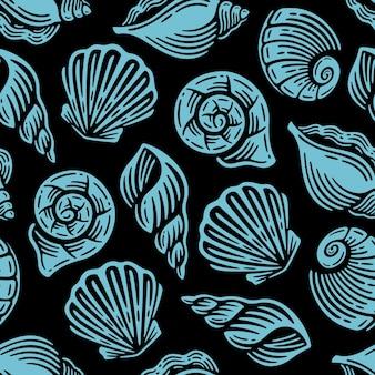 Бесшовный фон с голубой морской жизнью на старинном дизайне.