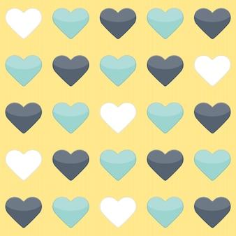 Бесшовный фон с голубой мятой и белыми сердцами над желтым. векторная иллюстрация