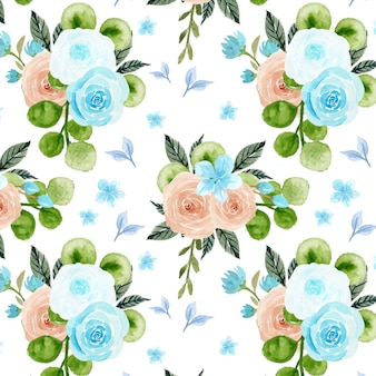 Seamless pattern with blue and peach flowers