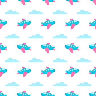 Seamless pattern with blue planes and clouds
