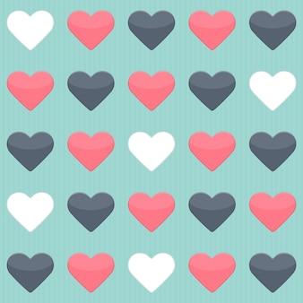 Бесшовный фон с синими красными и белыми сердцами над мятой. векторная иллюстрация