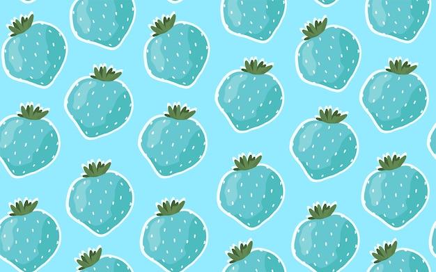 青いイチゴとのシームレスなパターン。漫画の手描きスタイル。