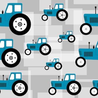 Бесшовный фон с синим трактором на сером фоне