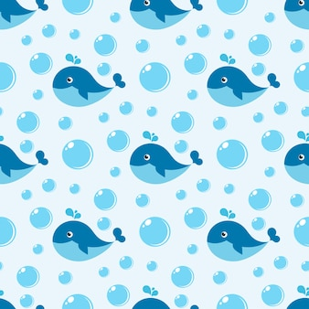 Бесшовный фон с синим китом и пузырьками воды