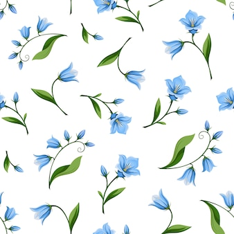 Seamless pattern with bluebell flowers. illustration.
