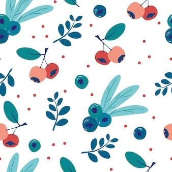 블루베리와 잎으로 완벽 한 패턴입니다. 잘 익은 야생 딸기 배경. 부엌 벽지, 섬유, 직물, 종이에 대한 끝없는 질감. 음식 배경입니다. 여름 시간입니다. 건강한 과일과 열매.