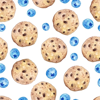 Seamless pattern with blueberries and oatmeal cookies