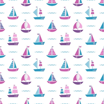 Seamless pattern with boats and blue waves