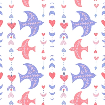 Seamless pattern with boho birds and geometric feathers and moon for valentines day