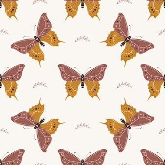 Boho 나비와 함께 완벽 한 패턴입니다. 천상의 요소와 곤충입니다.