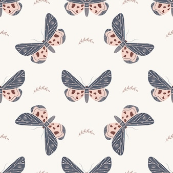 Seamless pattern with boho butterfly. insect with celestial elements.