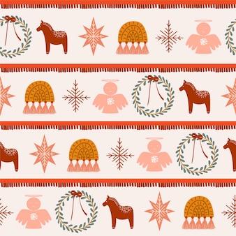 Бесшовный фон с элементами рождества бохо