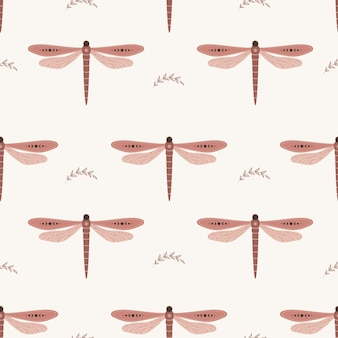 Seamless pattern with boho dragonfly. insect with celestial elements.