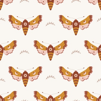 Seamless pattern with boho moth. insect with celestial elements.