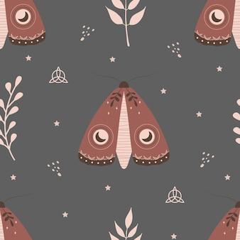 Boho 나방과 함께 완벽 한 패턴입니다. 천상의 요소와 곤충입니다. 프리미엄 벡터