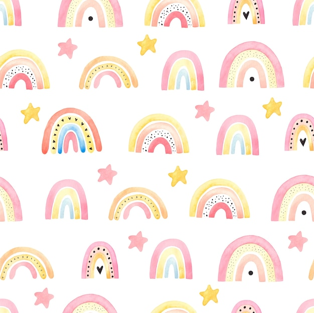 Seamless pattern with boho rainbows, childrens illustration, decor of childrens things