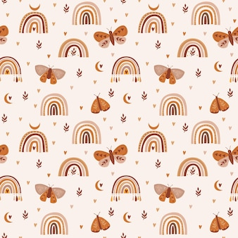 Seamless pattern with boho rainbows dragonflies flowers and butterflies