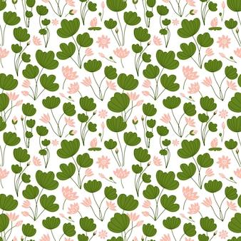 自由奔放に生きるシームレスなパターンは蓮のユリの花を様式化します