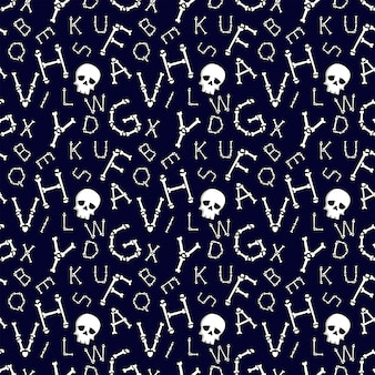 Seamless pattern with bones scary font latin alphabet