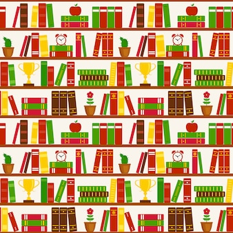 Seamless pattern with bookshelves. vector pattern.