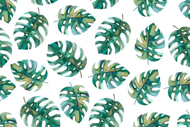 Бесшовный паттерн с ботанической иллюстрацией, листья монстеры, тропический узор