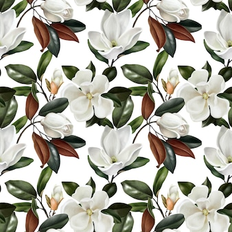 Seamless pattern with botanical realistic magnolias flowers
