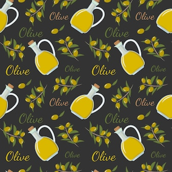 Seamless pattern with a bottle of olive oil a branch and olives for decor wallpaper paper