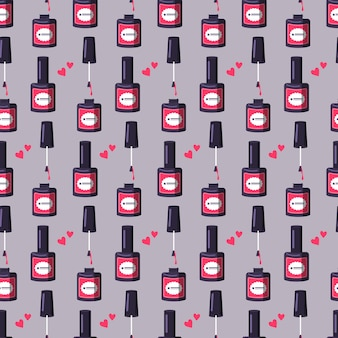 Seamless pattern with a bottle of pink nail polish cute bright print for manicure or beauty salon