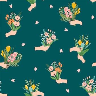 手に花の花束とのシームレスなパターン。