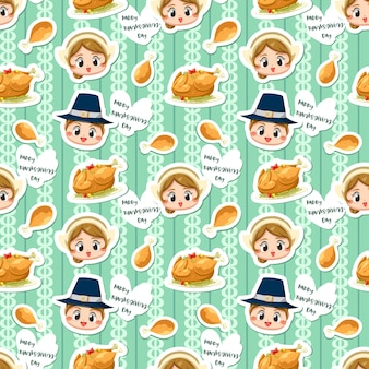 Seamless pattern with boy, girl and fried chicken.