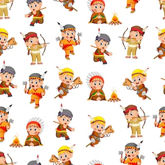 Seamless pattern with boys and girl american indian