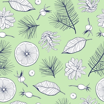 Seamless pattern with branches and berries
