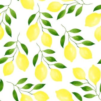 Бесшовные модели с ветвями спелых лимонов и зеленых листьев