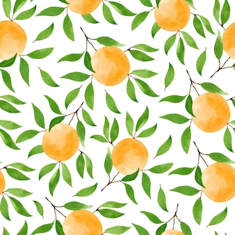 Seamless pattern with branches of ripe oranges and green leaves