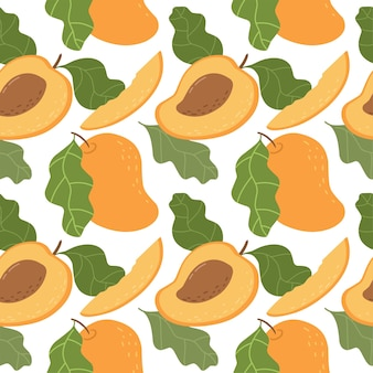 Seamless pattern with bright apricots bright pattern for wallpaper fabric and paper vector