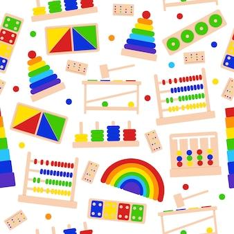어린 시절 발달을 위한 몬테소리 게임을 위한 밝은 어린이 장난감과 함께 매끄러운 패턴입니다. 미취학 아동을 위한 교육 논리 장난감.