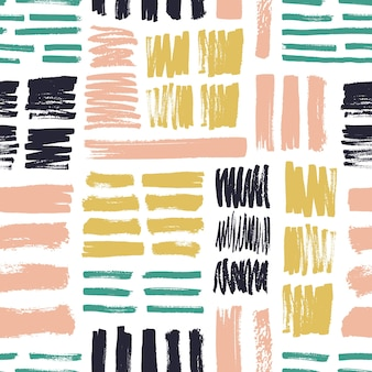 Seamless pattern with bright colored brush strokes on white background.