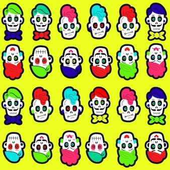할로윈과 죽은 자의 날을 위한 밝고 다채로운 재미있는 두개골 배경이 있는 원활한 패턴 ...