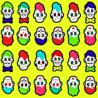 Seamless pattern with bright colorful funny skulls background for halloween and the day of the dead ...