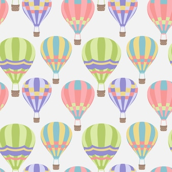 Seamless pattern with bright hot air balloons in modern style vector pattern abstract