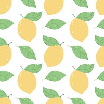 Бесшовный фон с яркими лимонами на белом фоне