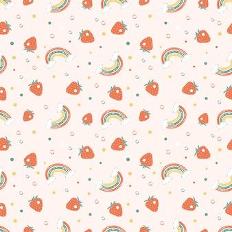 Бесшовный фон с яркими радугами, клубникой и горошком