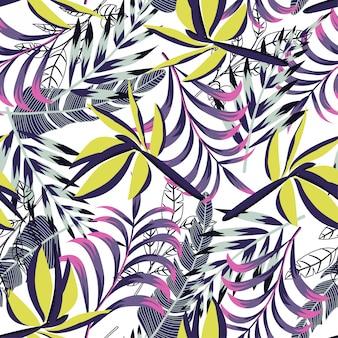 밝은 열 대 잎과 식물으로 완벽 한 패턴