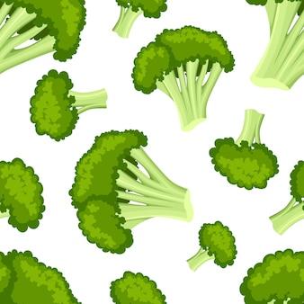 흰색 배경 웹 사이트 페이지 및 모바일 앱에 브로콜리 스타일의 신선한 음식 유용한 야채 일러스트와 함께 완벽 한 패턴